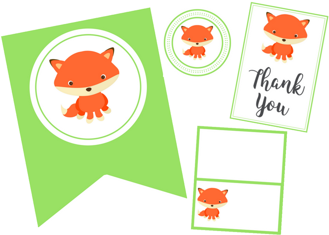 free printable fox party set