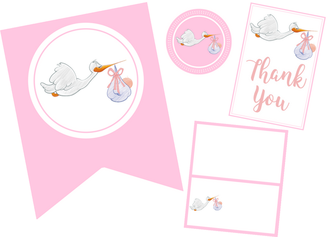 free printable pink stork baby shower party set
