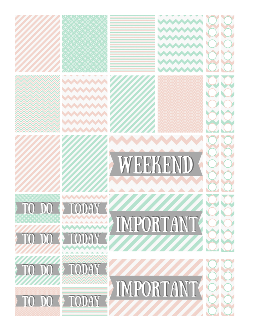 free printable mint and peach planner stickers