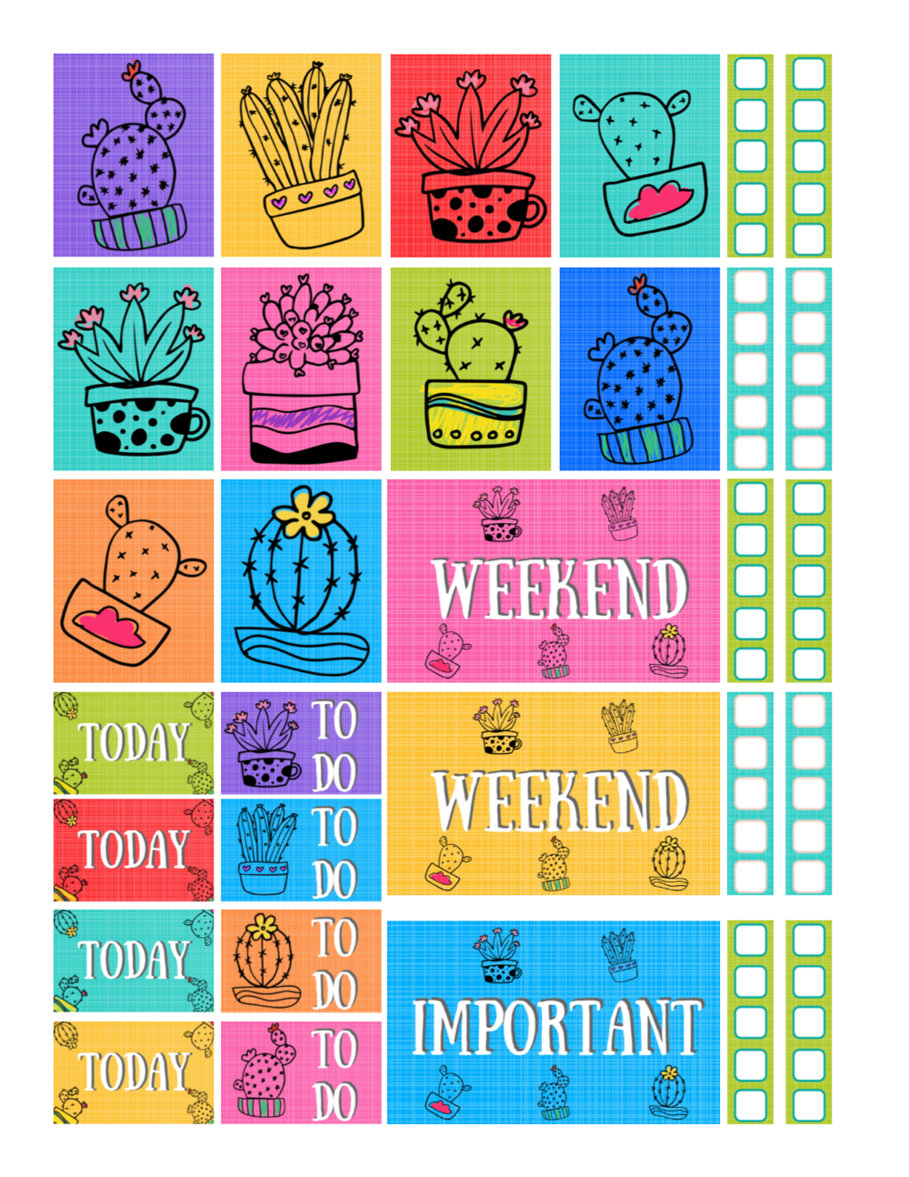 free printable cactus doodles planner stickers