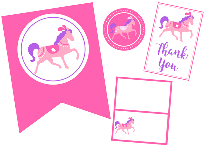 free printable pony party set