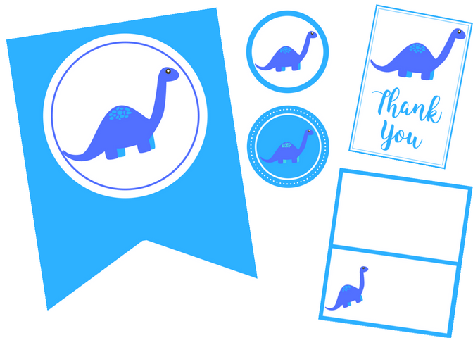 free printable dinosaur party set
