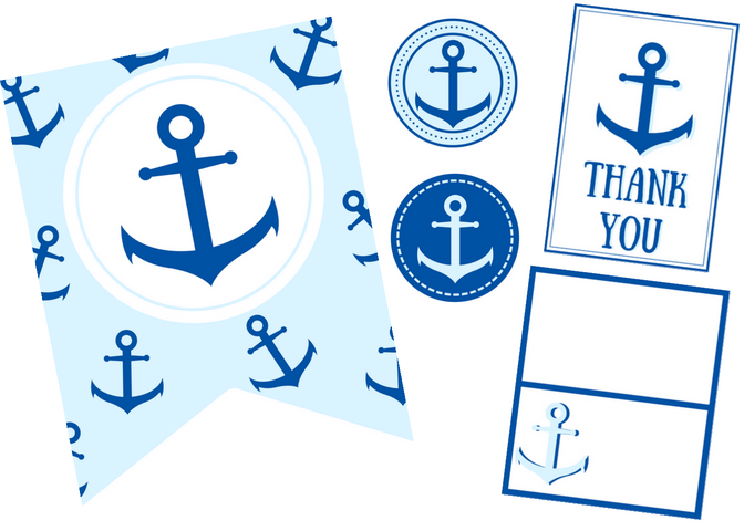 free printable anchor party set