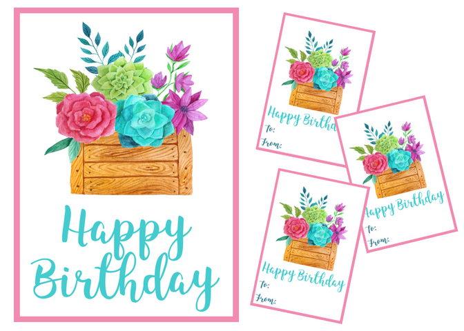 Free Printable Floral Birthday Card Gift Tags Violet Paper Designs