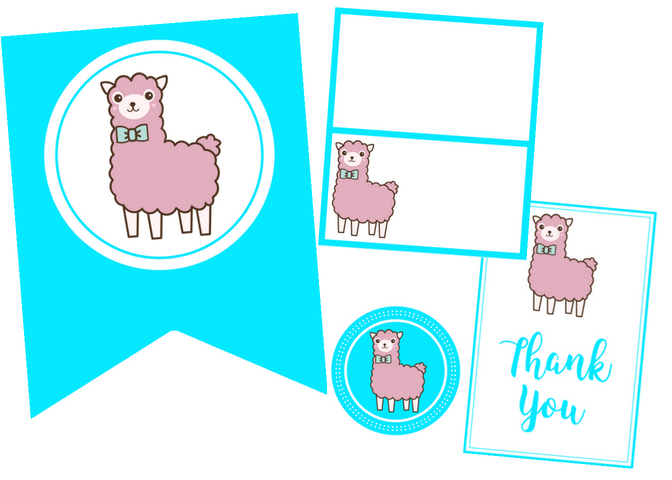 free printable llama party set violet paper designs