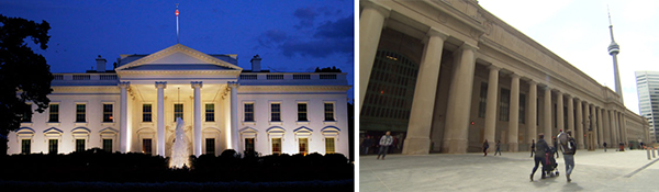 The White House (left) in Washington DC utilizes the Ionic Order, the tallest of the three set out by Viruvius. The Ionic Order was a staple of ancient Greece, the birthplace of Democracy. Because of this it has been commonly used on government buildings. Union Station (right) in Toronto utilizes a modified Doric Order, the shortest of the three set out by Vitruvius. The Doric Order is squat, powerful, masculine, and dependable, and thus has often been used on public infrastructure buildings to portray stability and reliability.