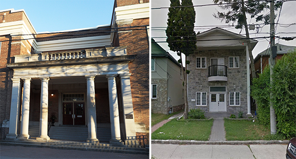 Doric Orders flank the monumental entrance to Bedford Park Public School (left), supporting a balanced and well-weighted entablature with balustrade above. There is no denying that this is where you enter the building; although the actual entrance door is recessed and up a few steps, it is comfortable, safe, and protected. At the entrance to this Toronto house (right), too-slender columns at the corners support a too-heavy roof which is too-high above the ground level. The entrance is awkward and uncomfortable. The columns are so slender and poorly-proportioned that the left hand side is almost entirely obscured by the skinny tree trunk.