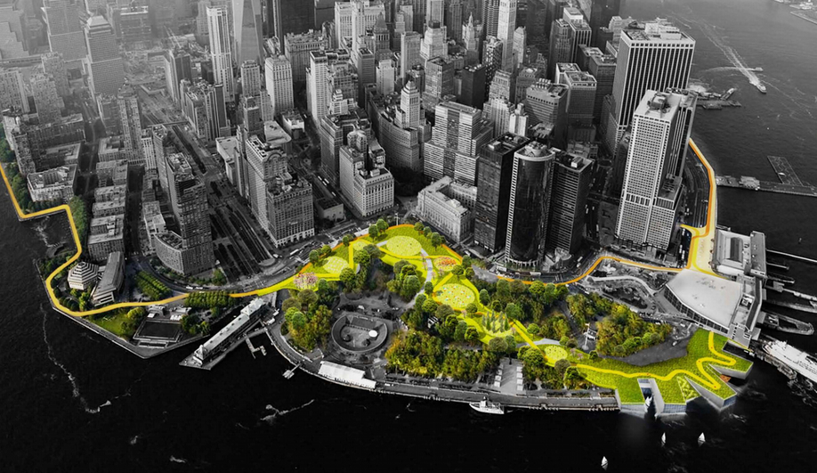 New York's City's BIG U is a signature initiative to fortify Lower Manhattan against impacts of climate change as envisioned by BIG and One Architecture & Urbanism