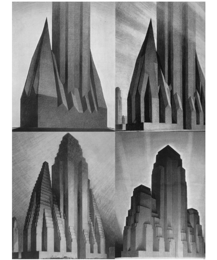 Hugh Ferriss's iconic Evolution of the Setback Building drawings illustrating New York City's zoning law of 1916.