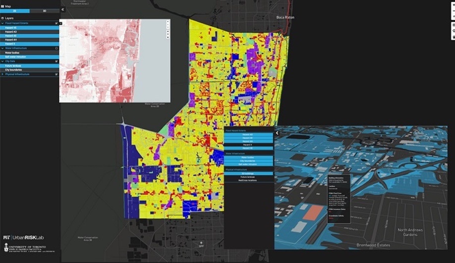 Flux Code Platform visualizing relationships between zoning and environmental conditions. Image by MIT Urban Risk Lab and Fadi Masoud