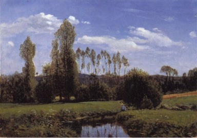 Claude Monet,  View At Rouelles , Le Havre (1858).  Image Source . (Monet was eighteen when he painted this…)