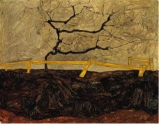 Egon Schiele,  Bare Tree Beyond the Fence , 1912.  Image Source