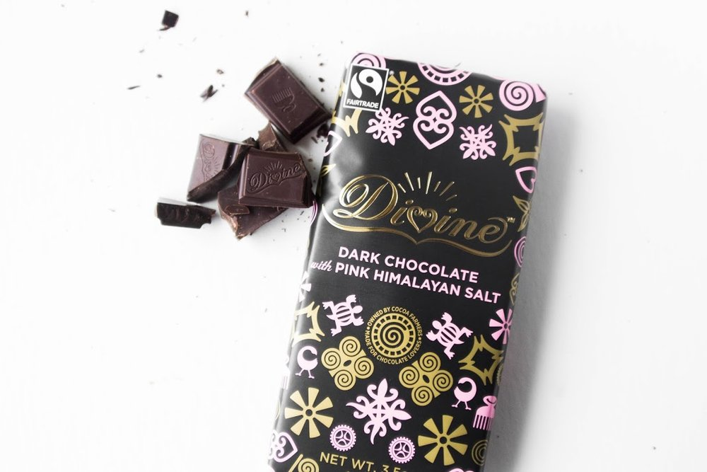 Fair-Trade Chocolate  - Your decadent Divine Chocolate is 100% fair-trade and co-owned by the 85,000 farmers in Ghana who supply the cocoa for each bar of chocolate. As co-owners they get a share of profits and a voice in the global company.Order more chocolate goodies from Divine Chocolate.