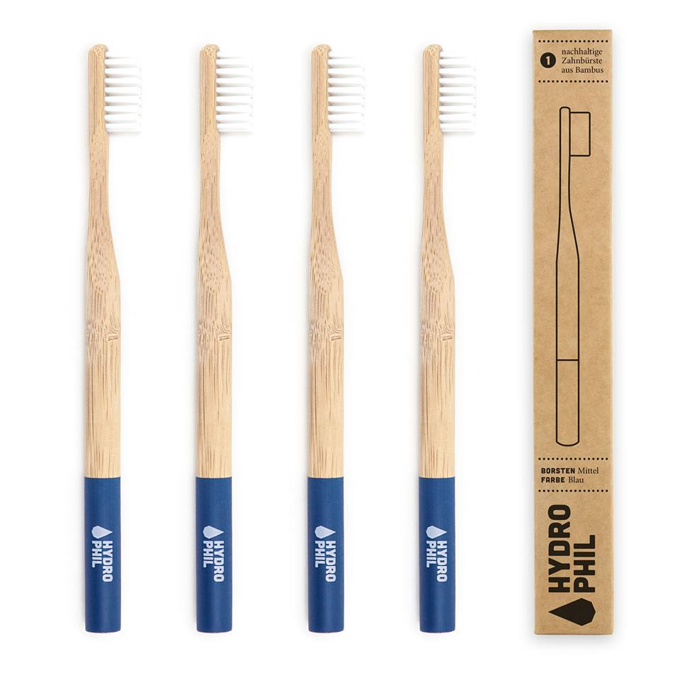 Hydrophil Toothbrush - Your sustainable toothbrush is made of fast growing bamboo and is BPA-free, 100% vegan bamboo toothbrush so you can brush your teeth & recycle your toothbrush later without any bad conscience.About Hydrophil: Hydrophil uses natural ingredients that grow without artificial irrigation, e.g. bamboo and colors that don't contain mineral oils or other chemical additives and that therefore don't leave any residues in the drinking and groundwater when composted. Hydrophil products don't contain animal products and aren't tested on animals. All our products are fair trade because fair labour deserves fair wage. Period!PLUS 10% of Hydrophil's profits go towards Viva Con Agua - to help provide water to the 780 million people in the world that don't have free access to drinking water and  2.4 billion people that don't have access to sanitary facilities