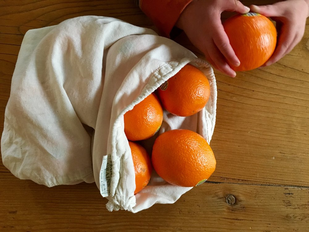 Get one step closer to zero-waste lifestyle with  EcoBags ' Replace thin plastic produce bags with a  reusable organic cotton drawstring bag . Fill them up with your favorite bulk beans, seeds and grains or fresh fruits and veggies. These bags are also handy for organizing travel and gym stuff if that's more your thing!