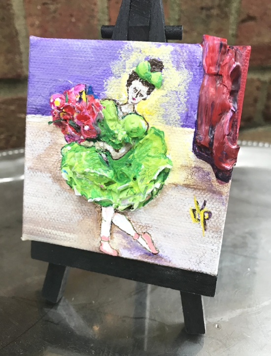 """Brava!"" by Delphine Peller 3""x 3"" acrylic& palette paint on canvas with mini easel"