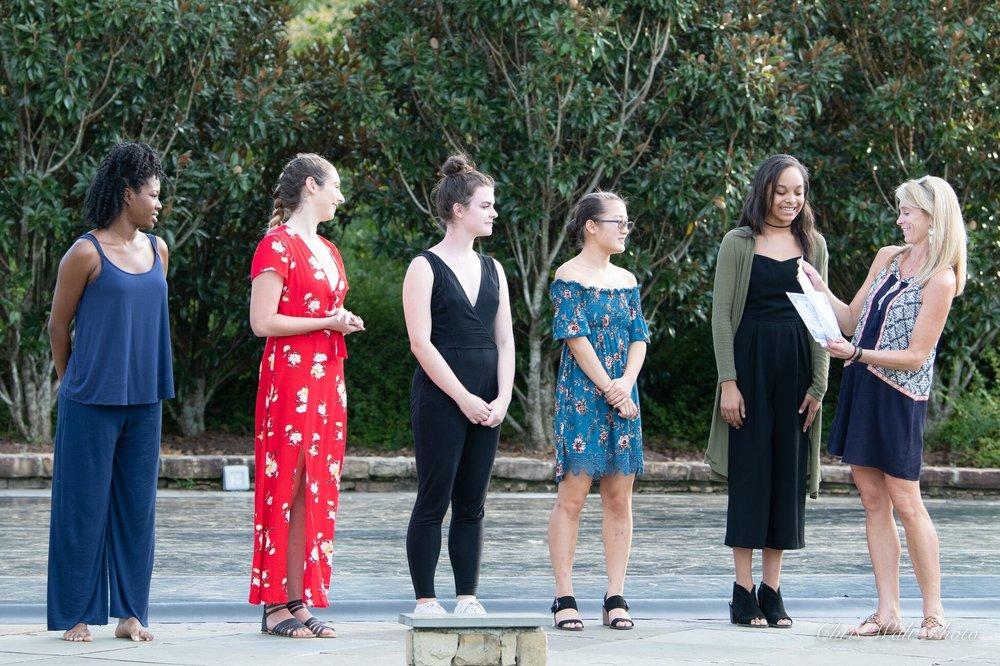 Inaugural Betty Holding Dancers Fund Scholarship recipients (left to right): Dedreana Scott, Victoria Stewart, Katie Harmon, Lili Kramar and Laurel Dorn.