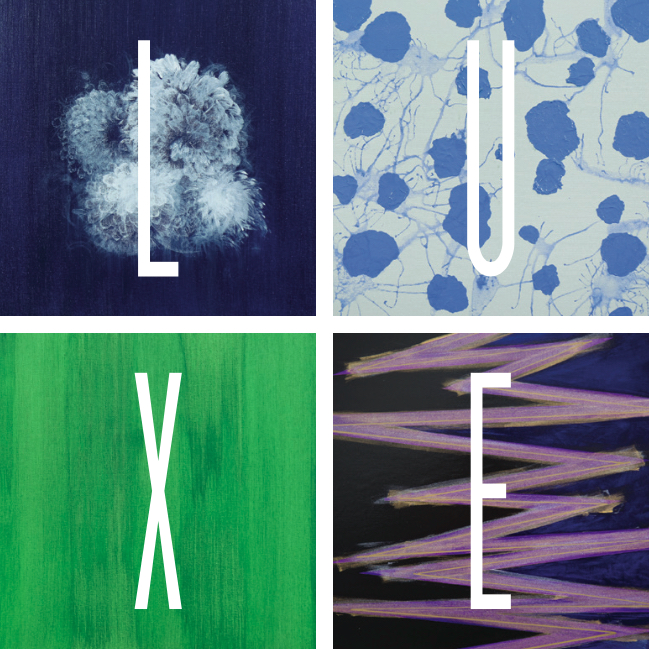 LUXE logo designed using four pieces from the Barry Lantz Art Collection