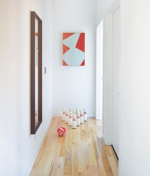Space-efficient homes have dual purposes for most of the square footage. Here's the hallway in between my boys' bedrooms that serves as a bowling alley! 🤷♀️🙌👍 Thank you, @thelandofnod for offering the cutest kid finds! 📸 Tony Valainis, @indymonthly January Home of the Month. #mod_abode #modern #modernhome #modernkids #architecture #interiordesign #loveindy #hotm