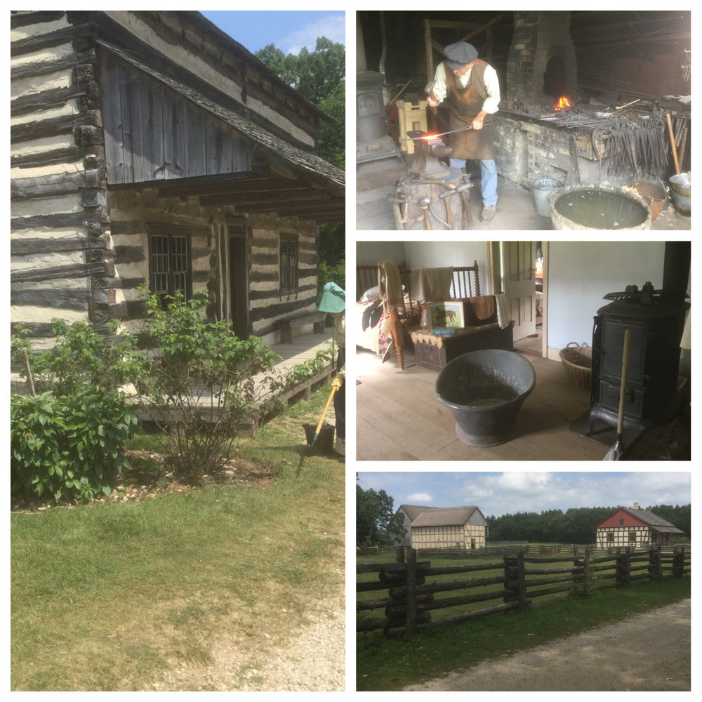 I've been reflecting on our recent journey to Wisconsin and the day spent walking the 480 acre outdoor museum of pioneer homes and farms of the 1800's. The well-educated guides explained the way things were done during that time period by demonstrating the use of the tools and utensils of that day.