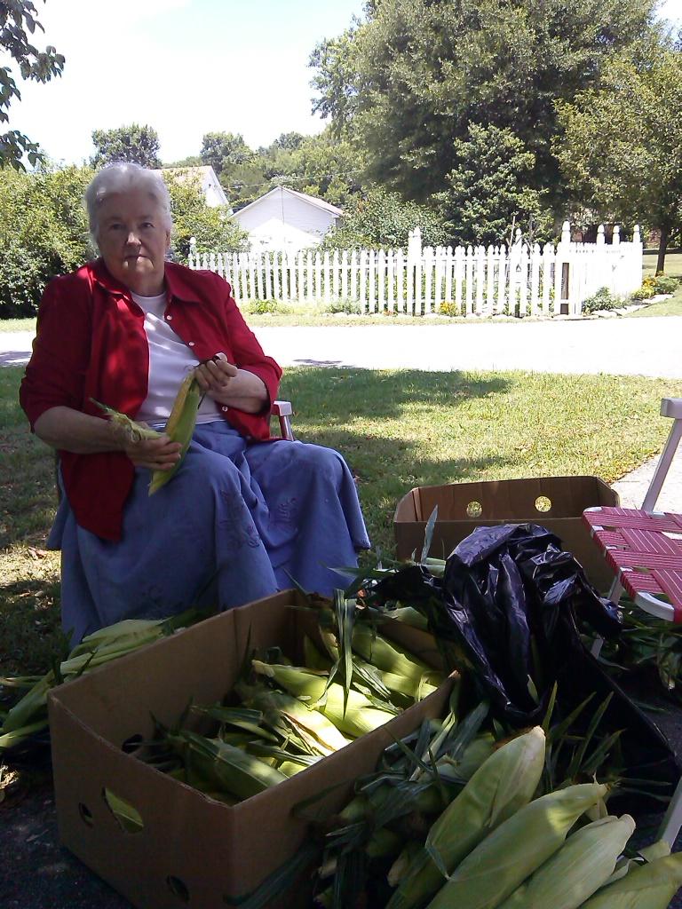 Mommy husking corn 2014.jpg