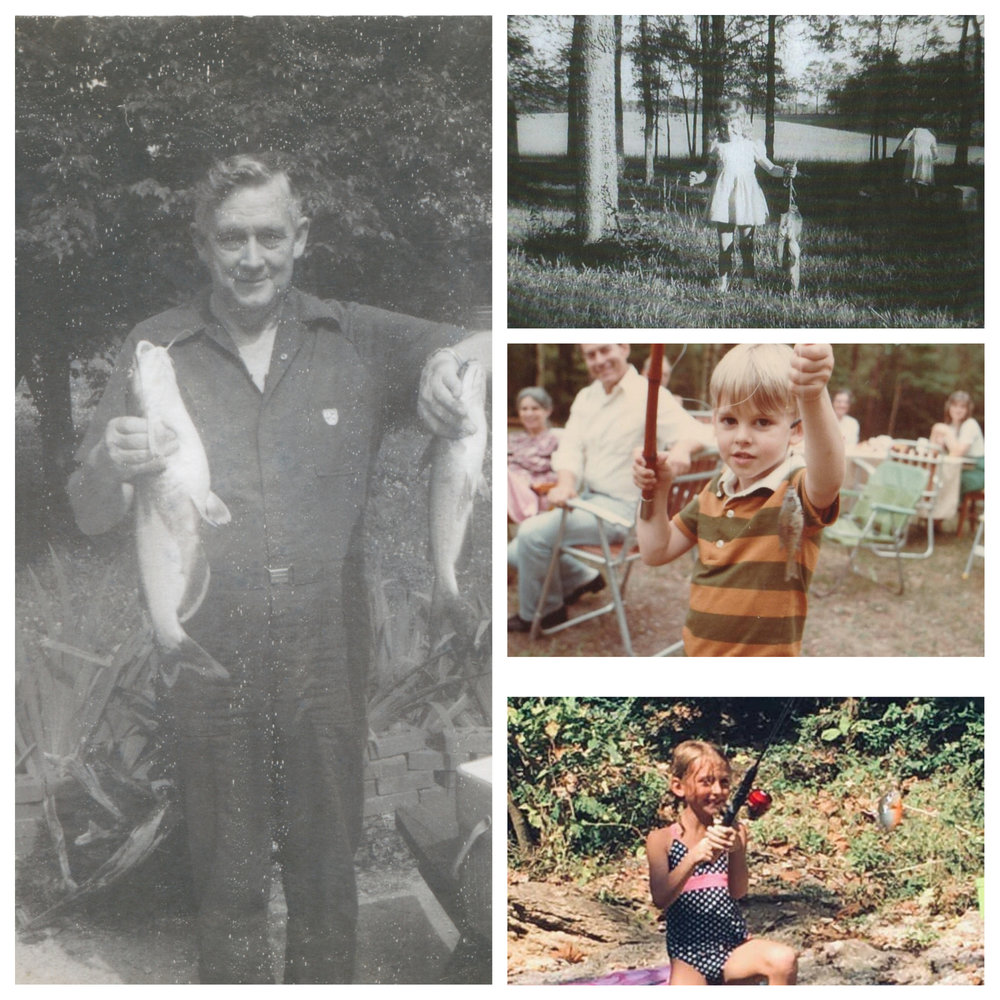 Four Generations of Fishing Enthusiasts.  (Left: Daddy, Top right: me (Karen, age 5),  Middle: Daniel (our oldest son, age 4), and Becky (Daniel's daughter, age 7)
