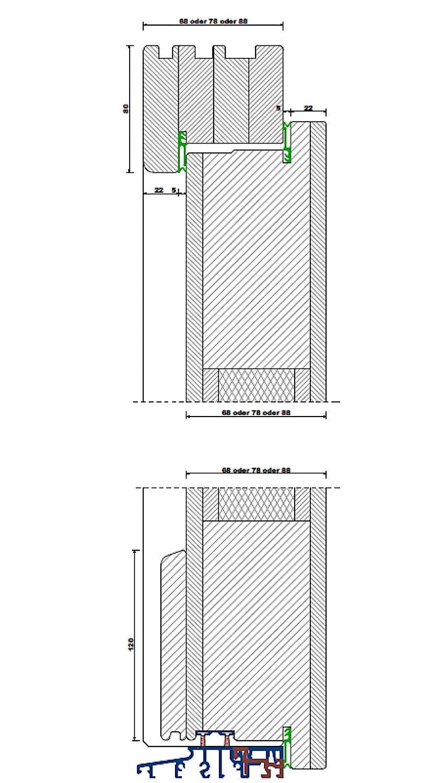 Türblattkonstruktion - Aufrechter Schnitt mit Türschwelle