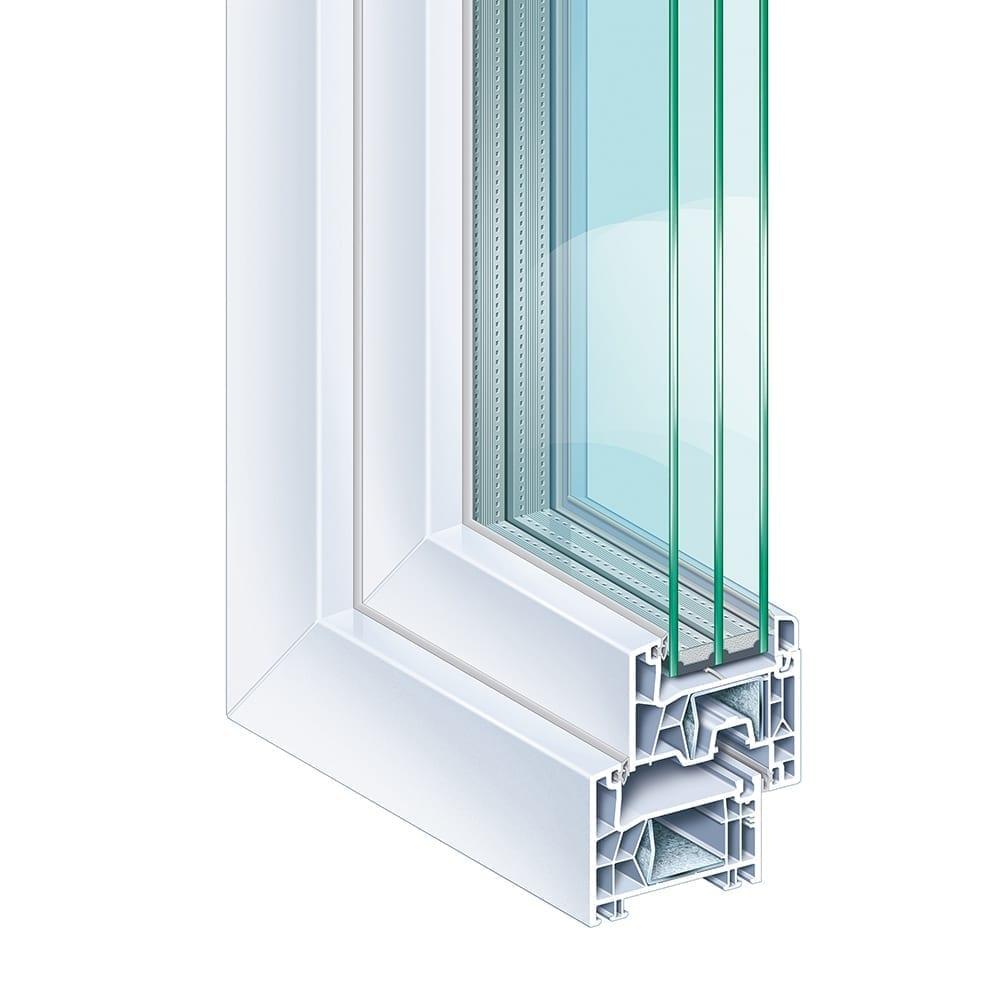 Kömmerling 76 AD - KÖMMERLING 76 Anschlagdichtung bietet Ihnen alle Vorteile moderner Fenster. Das Anschlagdichtungssystem mit fünf Kammern und einer Bautiefe von 76 mm besticht durch modernes Design und perfekte Profilproportionen. Über die Funktion, Bauphysik und Dämmwerte bis hin zum Umweltschutz und der Werterhaltung erfüllt es die heutigen und vor allem zukünftigen Ansprüche. Die Konstruktion von KÖMMERLING 76 Anschlagdichtung ist so innovativ gestaltet, dass moderne 3-fach Verglasungen oder spezielle Funktionsgläser bis 48 mm Dicke eingesetzt werden können.Schon in der Standard-Ausführung erfüllt das System die Anforderungen für Niedrig-Energiehäuser – Uf-Wert = 1,1 W/(m²K). Die intelligente Gesamtkonstruktion steigert Wärme- und Schalldämmung beträchtlich.Gestalten Sie Form und Farbe ganz individuell. Ein umfangreiches Profilsortiment – mit flächenversetztem, halb-flächenversetztem und einem Designflügel – sowie verschiedene Oberflächen-Ausführungen bieten viele Möglichkeiten. Das System ist lieferbar in Weiß, foliert in Holzstrukturen, Unifarben und Metallicfarben – entweder außenseitig foliert und innenseitig weiß oder beidseitig foliert.