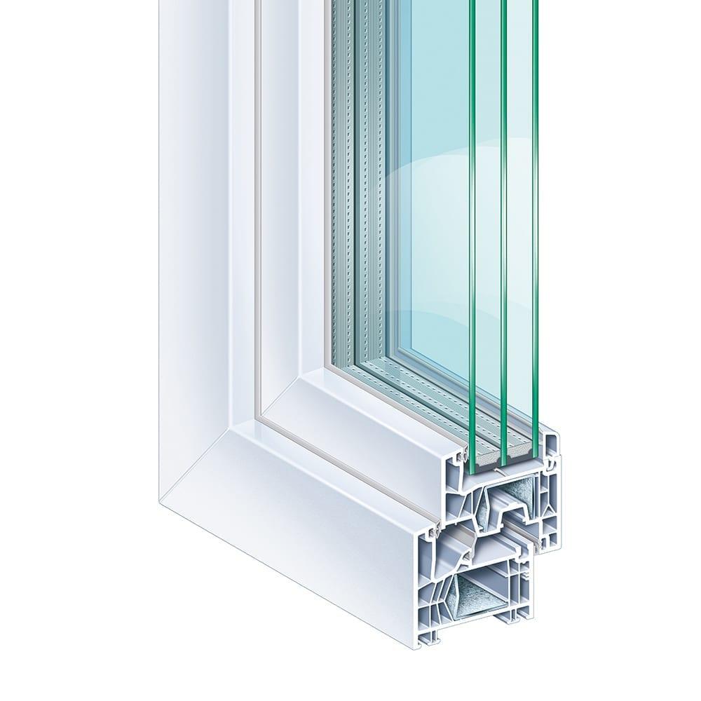 Kömmerling 76 MD - KÖMMERLING 76 Mitteldichtung bietet Ihnen alle Vorteile moderner Fenster. Das Mitteldichtungsdichtungssystem mit sechs Kammern und einer Bautiefe von 76 mm besticht durch modernes Design und perfekte Profilproportionen. Über die Funktion, Bauphysik und Dämmwerte bis hin zum Umweltschutz und der Werterhaltung erfüllt es die heutigen und vor allem zukünftigen Ansprüche. Die Konstruktion von KÖMMERLING 76 Mitteldichtung ist so innovativ gestaltet, dass moderne 3-fach Verglasungen oder spezielle Funktionsgläser bis 48 mm Dicke eingesetzt werden können.Schon in der Standard-Ausführung erfüllt das System die Anforderungen für Niedrig-Energiehäuser – Uf-Wert = 1,0 W/(m²K). Die intelligente Gesamtkonstruktion steigert Wärme- und Schalldämmung beträchtlich.Gestalten Sie Form und Farbe ganz individuell. Ein umfangreiches Profilsortiment – mit flächenversetztem und halb-flächenversetztem Flügel – sowie verschiedene Oberflächen-Ausführungen bieten viele Möglichkeiten. Das System ist lieferbar in Weiß, foliert in Holzstrukturen, Unifarben und Metallicfarben – entweder außenseitig foliert und innenseitig weiß oder beidseitig foliert.