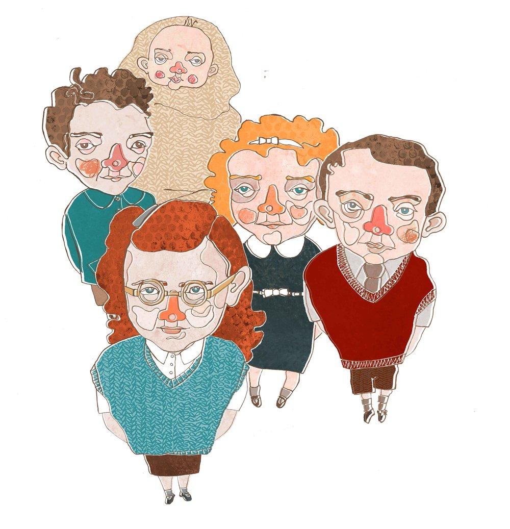 Clockwise from left: Richard, Chloe, Anna-Louise, John,Bridget.