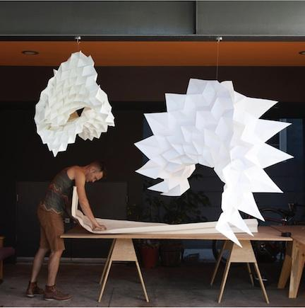 Architect and artist Jeff Morrical in his studio, working on larger sculptural pieces.