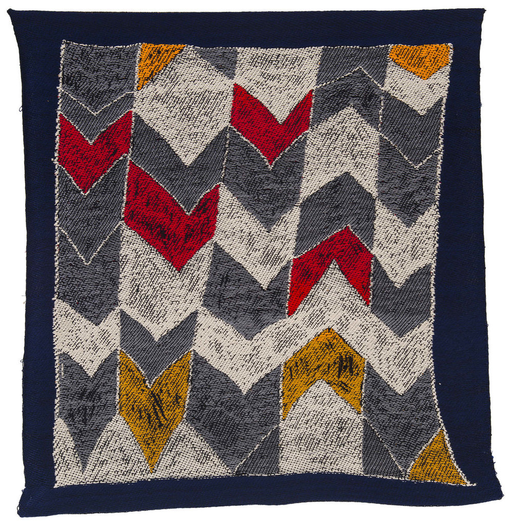 "Herringbone in Gold, Orange, Red and Grey  Cotton, Linen, Tencel 29"" x 31""  2013"