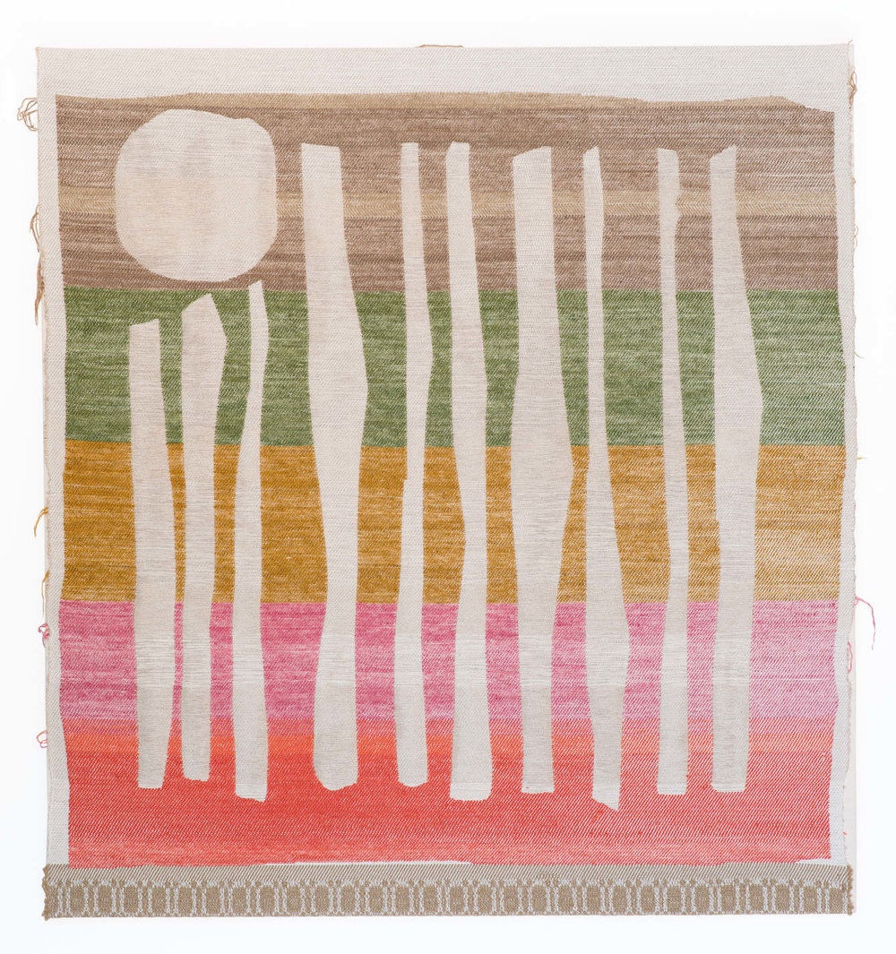 "Full Moon Forest  2016 43""x 46"" Cotton, Wool, Linen"
