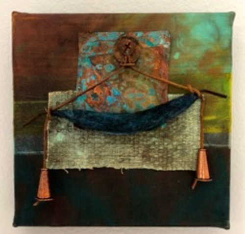 """Talisman, Totems, Trinkets 1"", 2018, Silk collage, copper, felted wool, leather, 6"" x 6"""