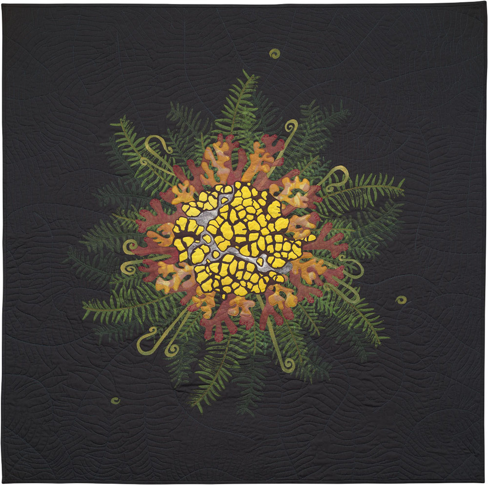 "Forest Primeval , art quilt, 2013, 42"" x 43"""