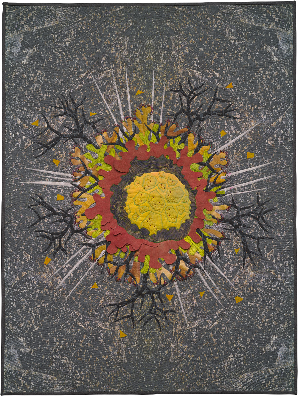 "Habitat Granite 2 , art quilt, 2014, 40"" x 30"""