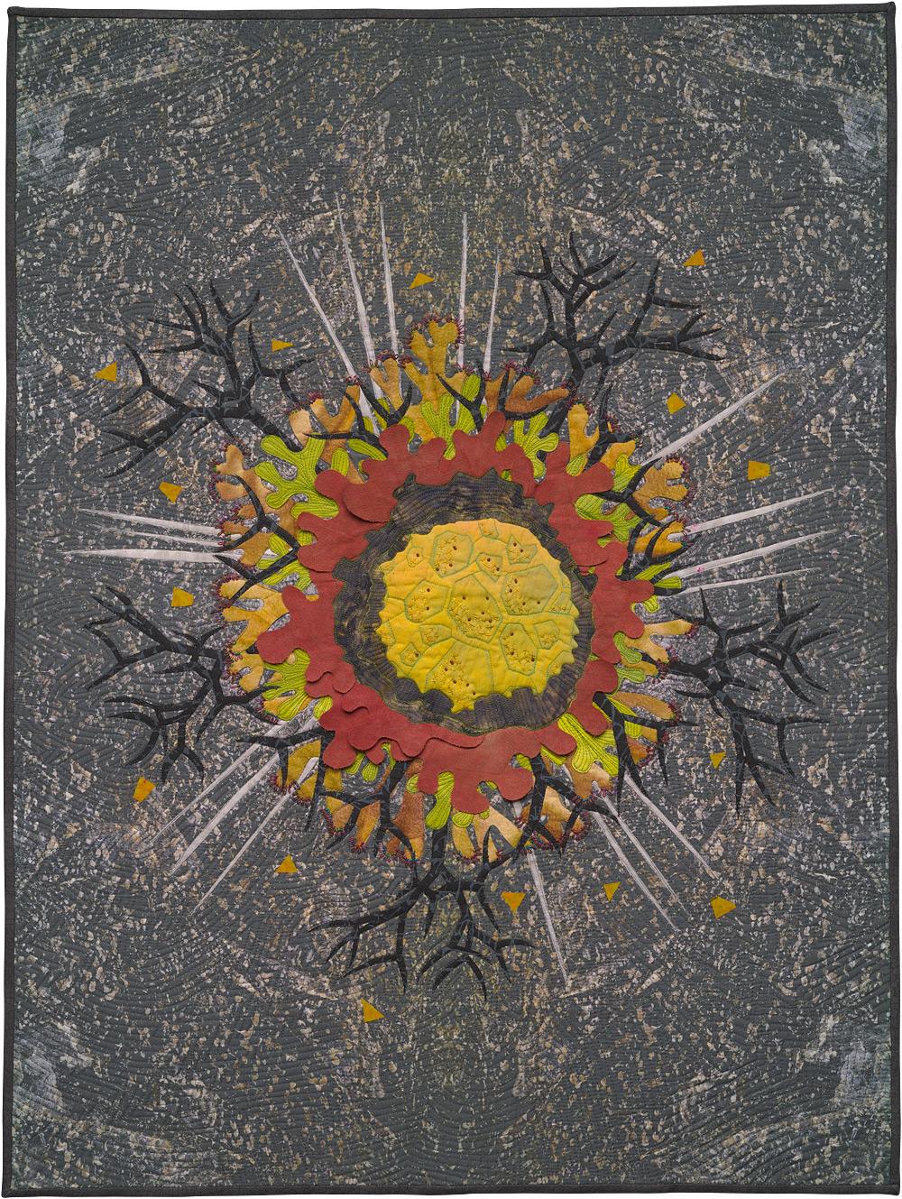 """Habitat Granite 2 , art quilt, 2014, 40"""" x 30"""""""