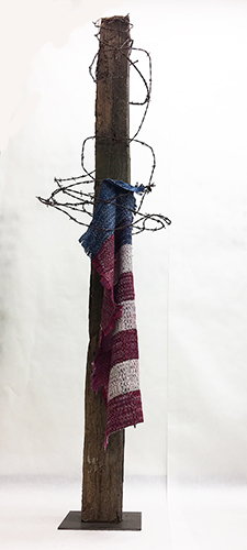 "Margins 2017 hand-woven, hand-dyed silk, barbwire, reclaimed fence post. D: 74"" x 12"" x 12"""