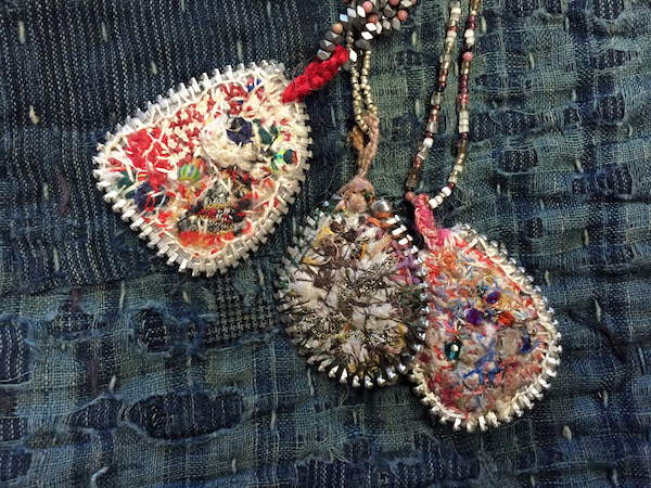 Amulets made for the Jewelry Show at Freehand 2015 – made from old metal zippers, sewn and stitched