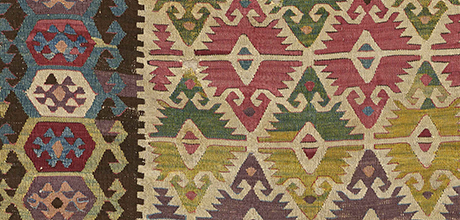 Kilim (detail), Turkey, central Anatolia, late 18th century. The Textile Museum 2013.2.1. The Megalli Collection. From https://museum.gwu.edu/kilims