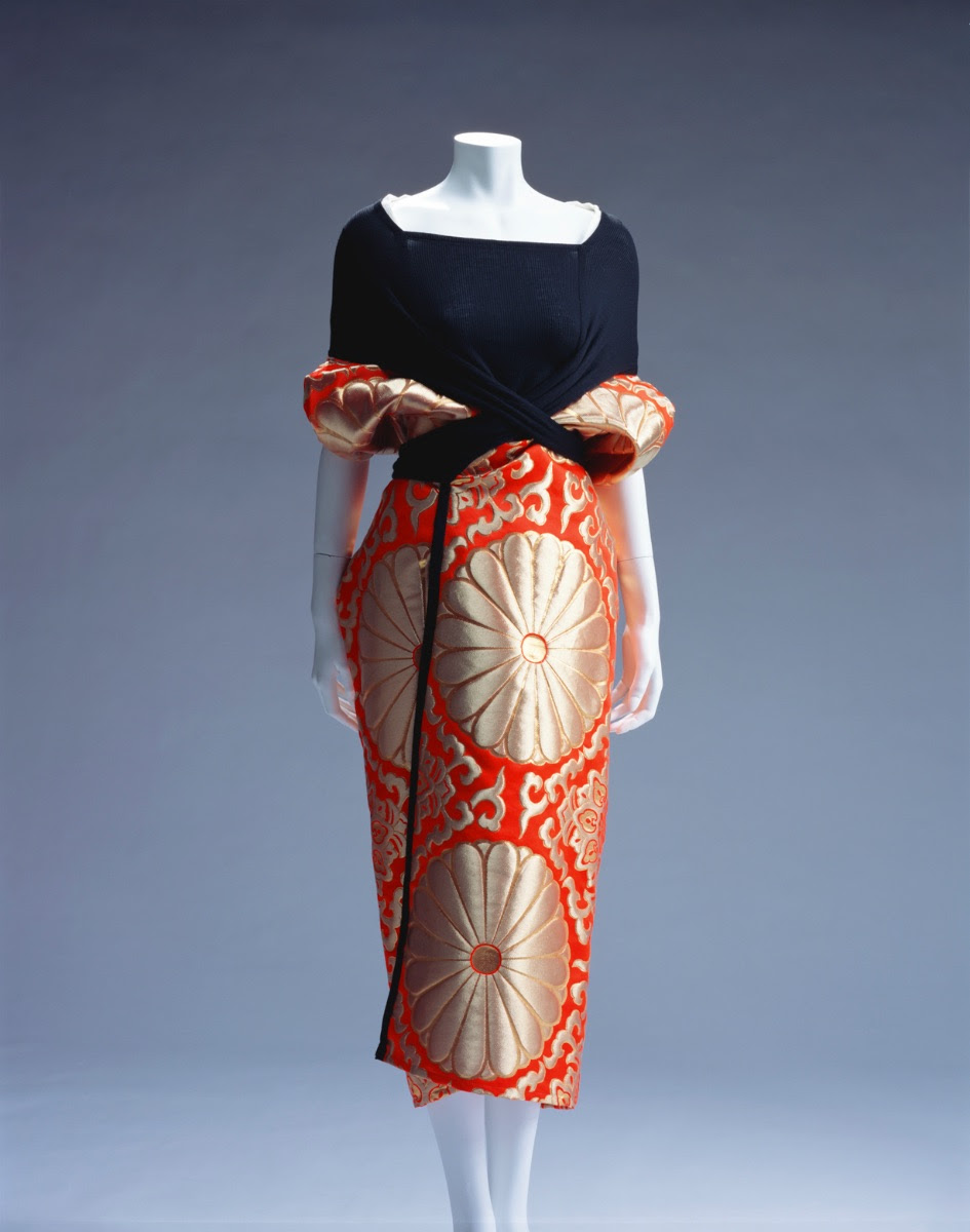 Dress, Spring/Summer 1995, by Yohji Yamamoto (Japanese, b. 1943). Silk/rayon-blend jersey and polyester/rayon/nylon-blend brocade.  Collection of The Kyoto Costume Institute . © The Kyoto Costume Institute, photo by Takashi Hatakeyama.