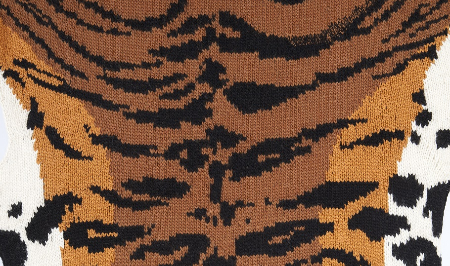 Image Credit: Ruth Marshall,  Caldwell's Chinese Tiger (detail), 2011, Hand knitted with yarn sponsored by Lionbrand, string, sticks, Courtesy of the artist.