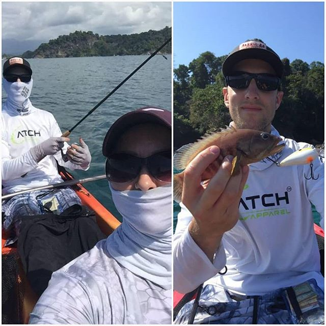 *CATCH ALERT*  Photos from @greg_grammatis_fishing and @amanda_fishing_nature_camping👊👊👊 doing some Yak Fishing in Costa Rica. ▪ ▪ ▪ #fishingapparel #catchapparel #uvprotection #uvhoodie #uv #fishing #fish #costarica #catchandrelease #kayakfishing #kayaking #kayak #fishon #tightlines #setthehook