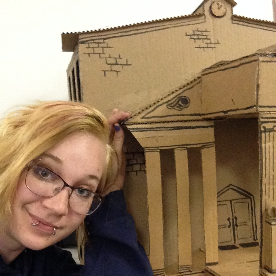Myself and Town Hall, the largest of the cardboard models made for the miniature town section of  Roach Town .