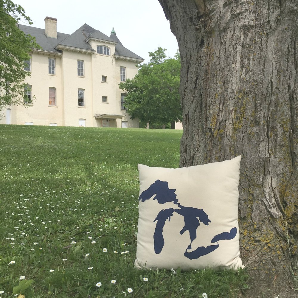 "Find a Great Lakes 18"" pillow here. Picture taken on the Traverse City State Hospital grounds."