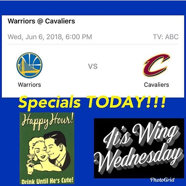 Warriors vs. Cavaliers tonight! ⠀⠀⠀⠀⠀⠀⠀⠀ Wings will be half off and $5 Cocktails will be pouring🍗🍹 @christinasmith61974 will be pouring from our taps tonight🍻 ⠀⠀⠀⠀⠀⠀⠀⠀ Repost: @christinasmith61974