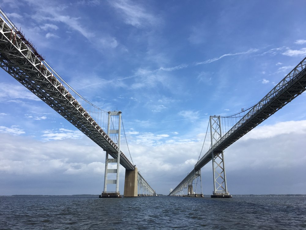 Passing under the Chesapeake Bay Bridge on our way into Annapolis.