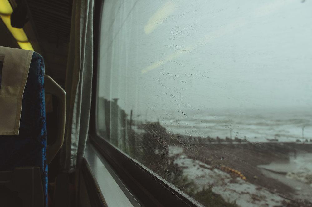 Enjoying the endless views on our train ride back to Taipei