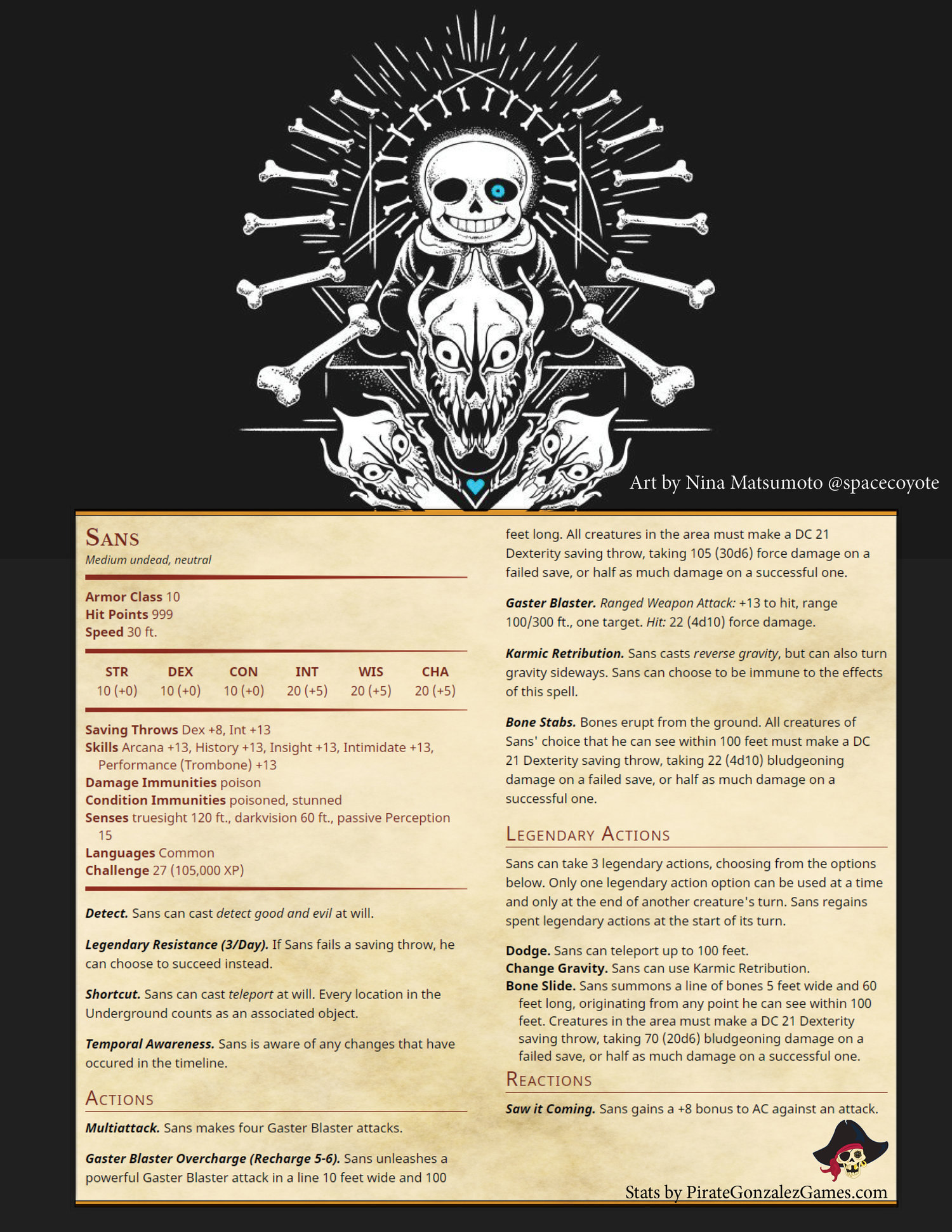 Undertale- Sans Stats — Pirate Gonzalez Games