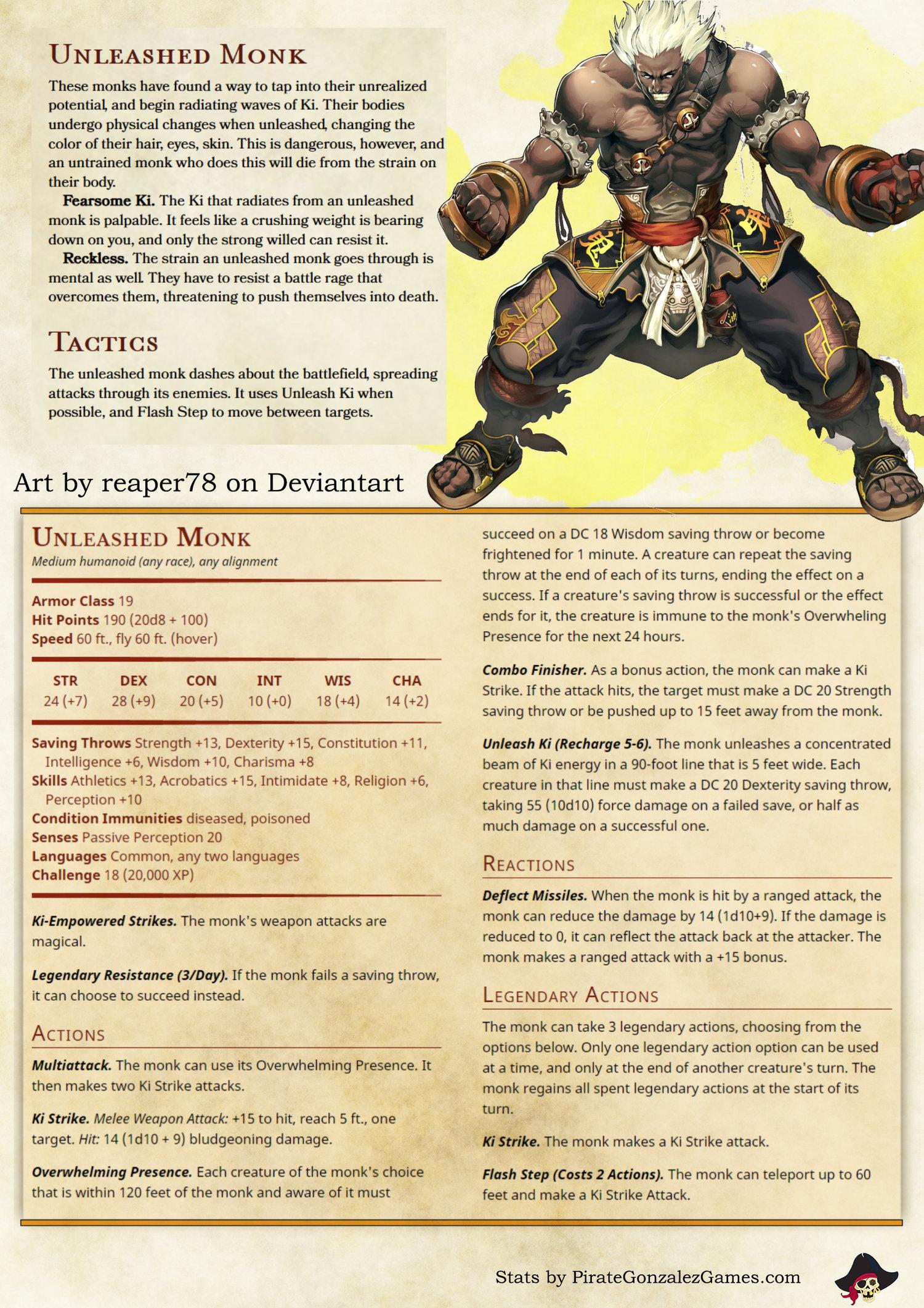 Fight a Super Saiyan! The Unleashed Monk NPC — Pirate Gonzalez Games